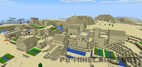 Сид Тройная деревня в пустыне для Minecraft PE 0.14.0