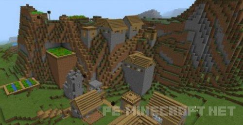 Сид Тройная горная деревня для Minecraft PE 0.14.0