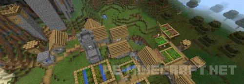 Сид на деревню с хижиной ведьмы для MCPE 0.14.0