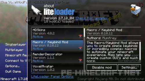 Мод LiteLoader для Minecraft 1.9